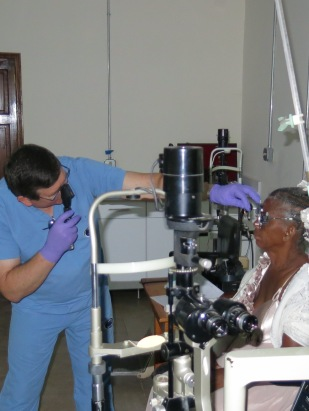 Dr. Mike Hutton performing retinoscopy
